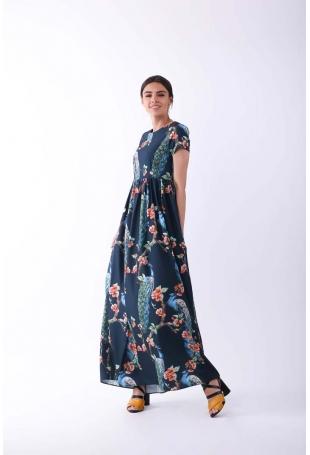 Długa Granatowa Sukienka na Krótki Rękaw