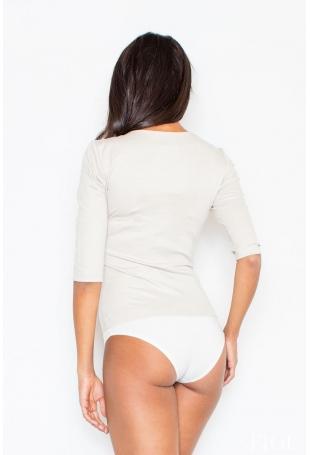 Nowoczesna Beżowa Bluzka - Body z Długim Suwakiem