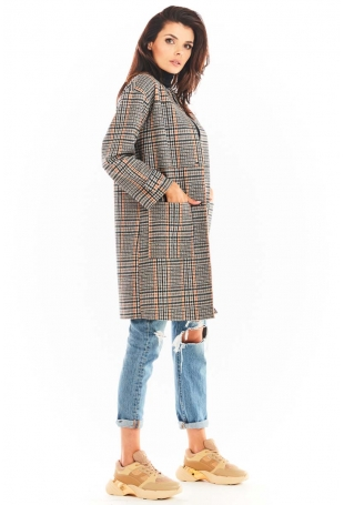 Płaszcz w Kratę z Dużymi Kieszeniami - Granatowy