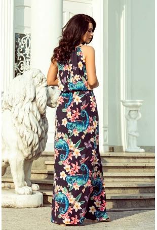 Czarna Maxi Sukienka Wiązana na Szyi w Kameleony