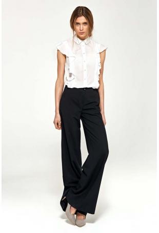 Czarne Eleganckie Spodnie Typu Plazzo