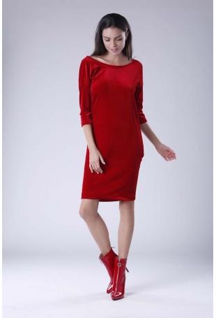 Czerwona Wyjściowa Sukienka Welurowa z Lejącym Dekoltem na Plecach