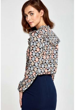 Wzorzysta Koszulowa Bluzka z Falbankami