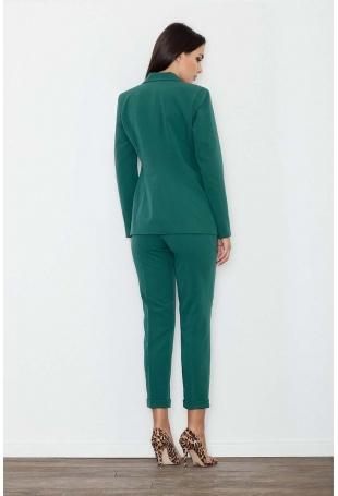 Zielone Spodnie 7/8 w Kant z Mankietem