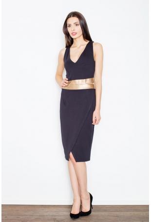 Czarna Kobieca Sukienka Midi z Panelami z Eko-skóry
