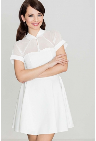 Ecru Sukienka z Szyfonem z Krótkim Rękawem