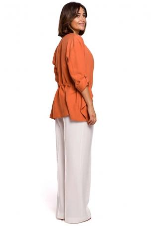 Pomarańczowa Marynarka Ściągana w Pasie z Podpinanym Rękawem