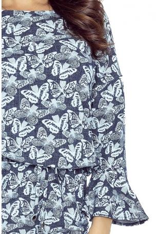 Jeansowa Sukienka w Motyle z Falbanką przy Rękawie