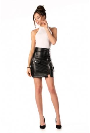 Czarna Mini Spódnica Skórzana z Suwakami
