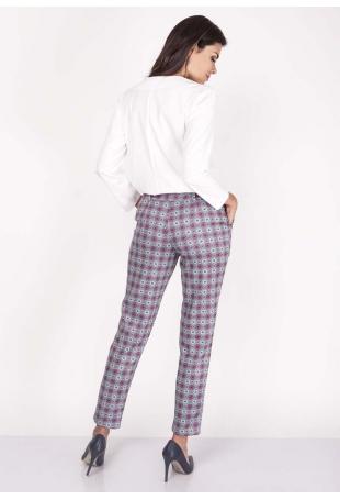 Purpurowe Spodnie Szykowne Wzorzyste