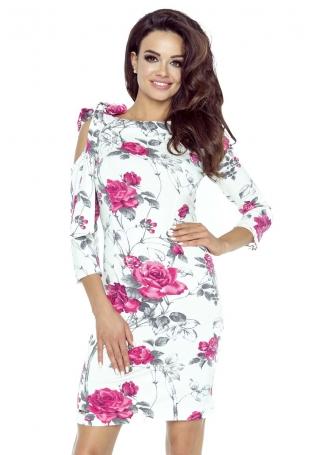 Biała Sukienka w Bordowe Kwiaty Wiązana na Jednym  Ramieniu