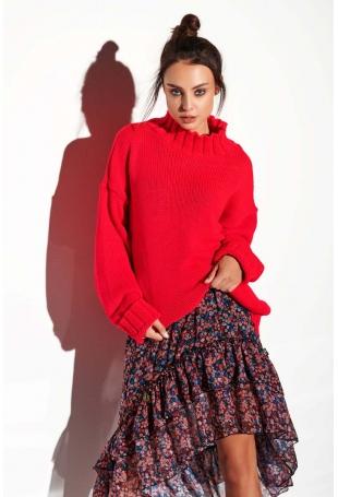 Malinowy Oversizowy Ciepły Sweter z Półgolfem