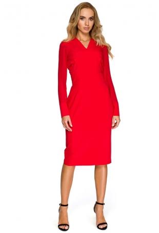Czerwona Dopasowana Wizytowa Sukienka z Siateczkowym Rękawem