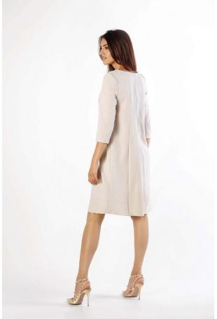 Beżowa Trapezowa Sukienka w Serek z Kieszeniami