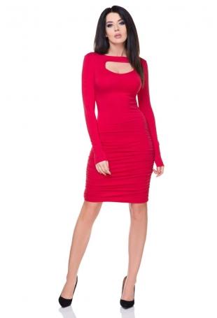 Czerwona Marszczona Sukienka Bodycon z Wyciętym Dekoltem