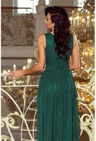 Zielona Sukienka Wieczorowa Maxi z Dekoltem V