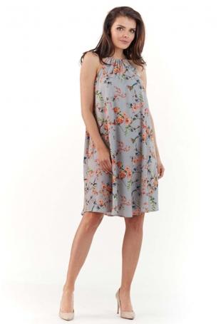 Szara Zwiewna Sukienka Midi w Kwiatowy Wzór z Wiązanym Dekoltem