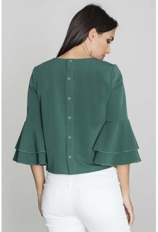 Zielona Krótka Bluzka z Rozkloszowanymi Rękawami