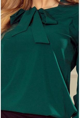 Zielona Bluzka Elegancka z Wiązaną Szarfą