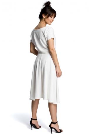 Ecru Midi Sukienka z Szerokim Dołem