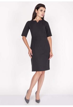 Czarna Sukienka Elegancka Dopasowana Midi z Krótkim Rękawem