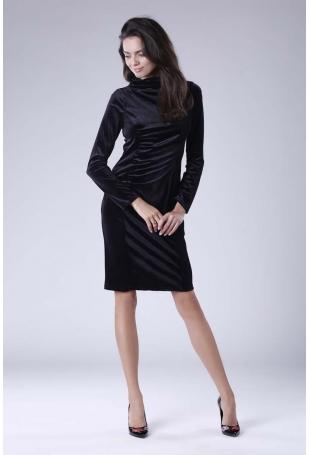 Czarna Dopasowana Sukienka Welurowa z Półgolfem