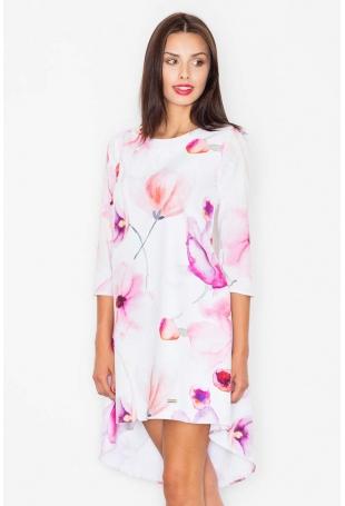Sukienka Asymetryczna w Odcieniach Różu