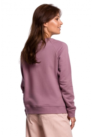 Klasyczna Bluza Dresowa z Nadrukiem - Wrzosowa