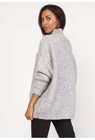 Szary Ciepły Oversizowy Sweter z Golfem