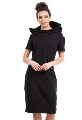 Czarna Sukienka Sportowa Midi z Kapturem