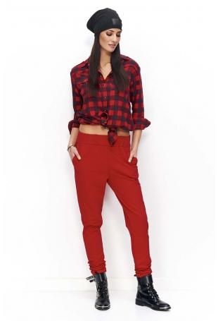 Czerwone Spodnie Dresowe Luźne z Kieszeniami