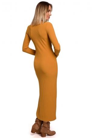 Prążkowana Maxi Sukienka z Rozcięciem - Musztardowa