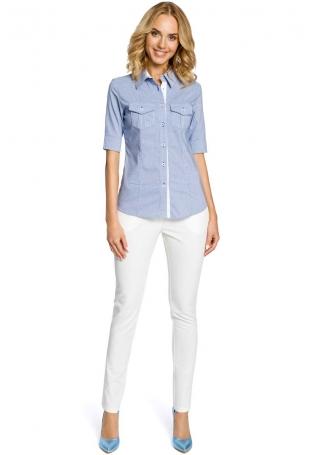 Klasyczna Koszula z Krótkim Rękawem - Niebieski