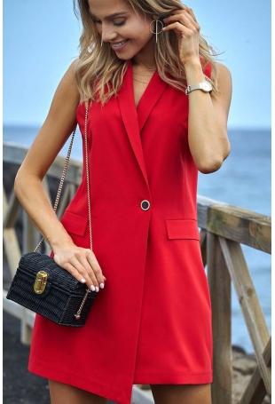 Czerwona Elegancka Żakietowa Sukienka bez Rękawów