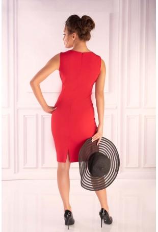Czerwona Dopasowana Sukienka bez Rękawów z Dodatkiem Szyfonu