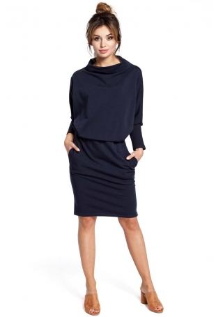 Granatowa Sukienka z Wysokim Dekoltem