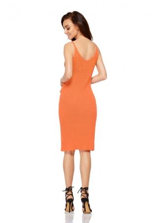Pomarańczowa Sukienka Swetrowa na Cienkich Ramiączkach