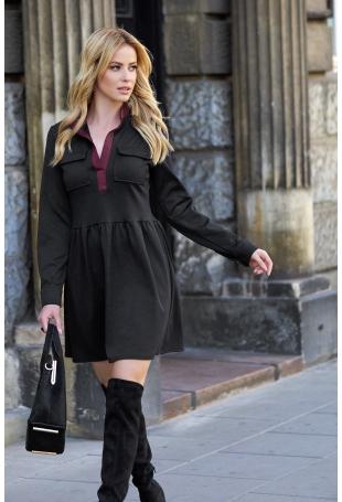 Czarna Rozkloszowana Sukienka z Kontrastowym Wykończeniem Kołnierza