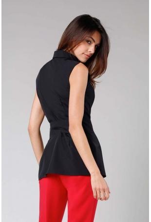 Czarna Elegancka Koszula bez Rękawów z Wiązaną Szarfą