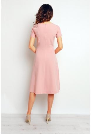 Różowa Elegancka Rozkloszowana Sukienka
