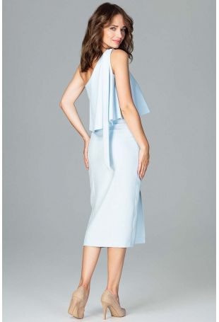 Błękitna Koktajlowa Dopasowana Sukienka na Jedno Ramię