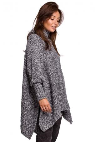 Asymetryczny Sweter-Ponczo z Golfem - Antracyt