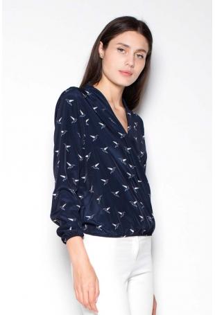 Granatowa Koszula Wzorzysta z Kopertowym Dekoltem V