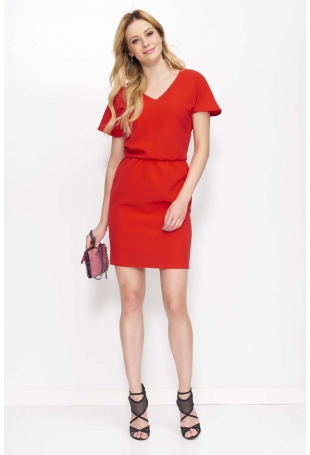 Czerwona Sukienka Krótka Kimonowa z Wycięciem na Plecach