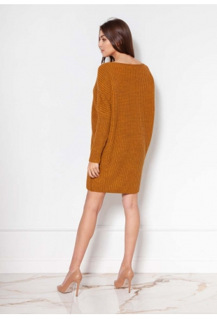 Swetrowa Tunika z Dekoltem w Łódkę - Musztardowa