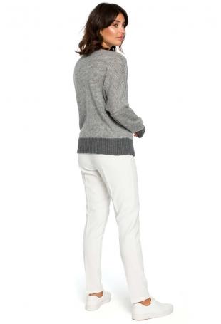 Jasnoszary Kimonowy Sweter z Kontrastowymi Mankietami