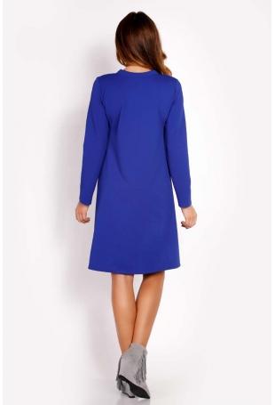 Niebieska Sukienka Trapezowa z Krawatką