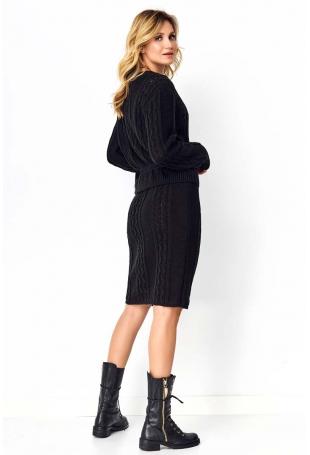 Czarny Efektowny Komplet w Warkocze Sweter+ Spódnica