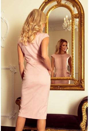 Różowa Sukienka Elegancka Midi z Zaznaczoną Talią