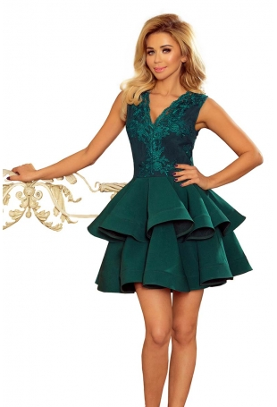 Zielona Rozkloszowana Imprezowa Sukienka z Koronką